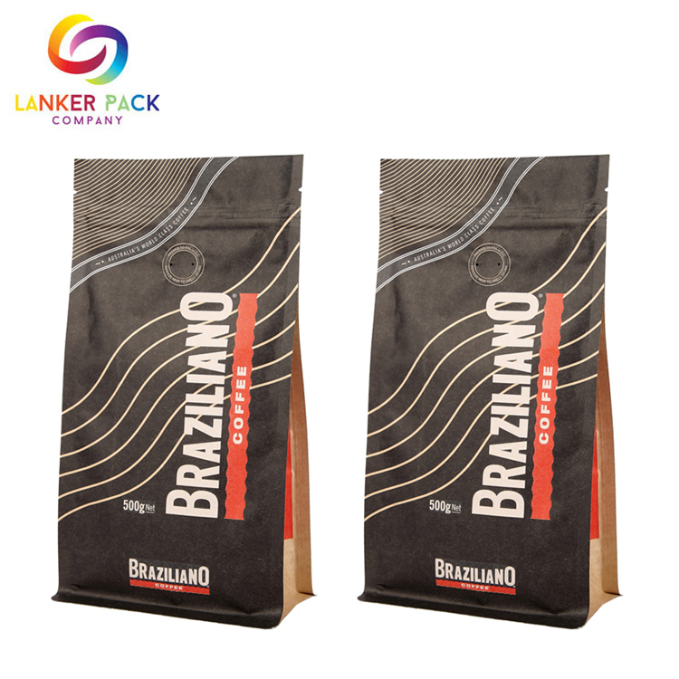 Custom Printed Kraft Coffee Bag With Valve