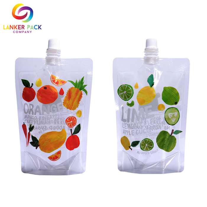 Food Grade Reclosable Clear Drink Spout Pouch